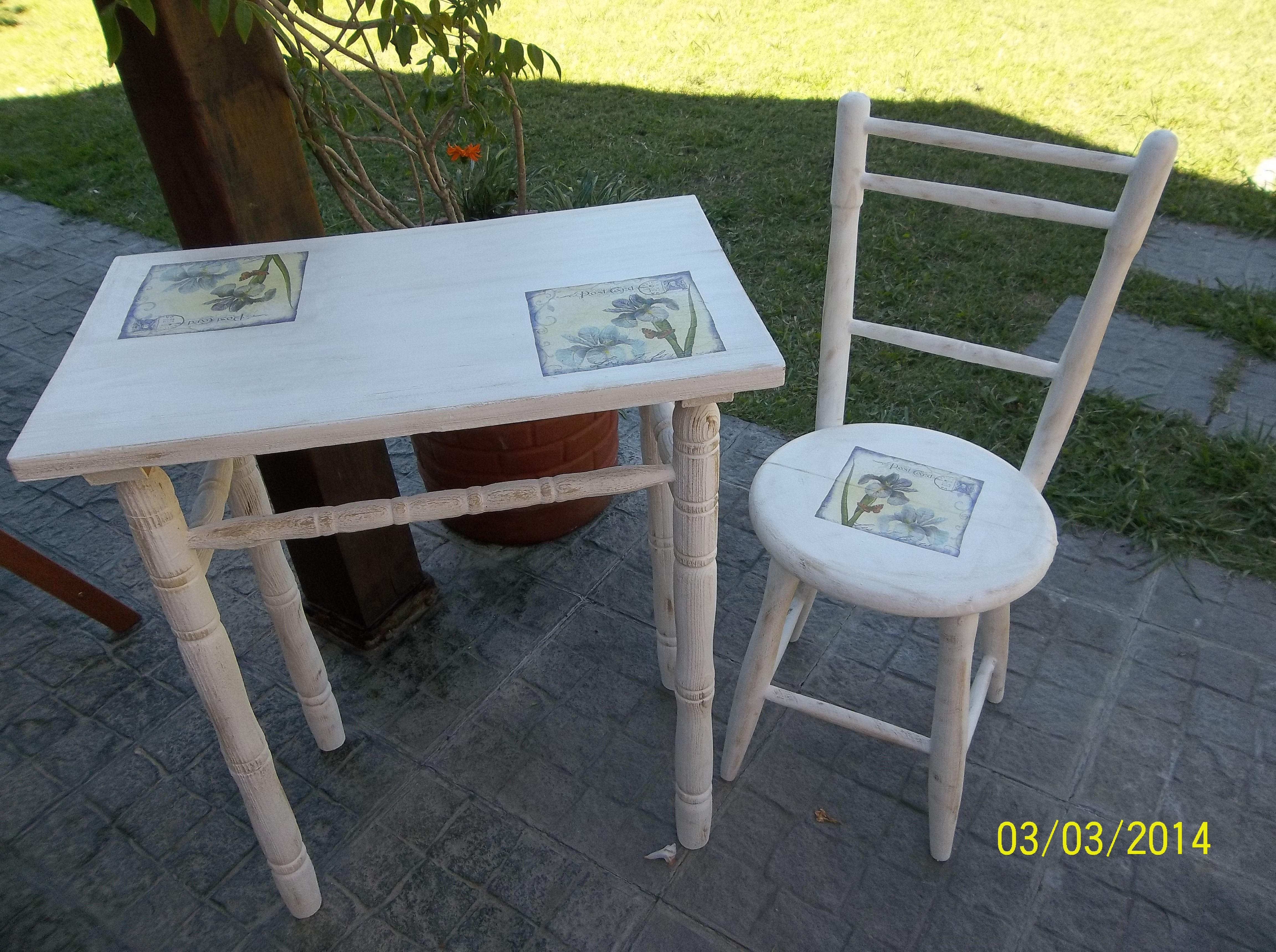 Un reciclaje de mesa y silla para el balc n o el jard n