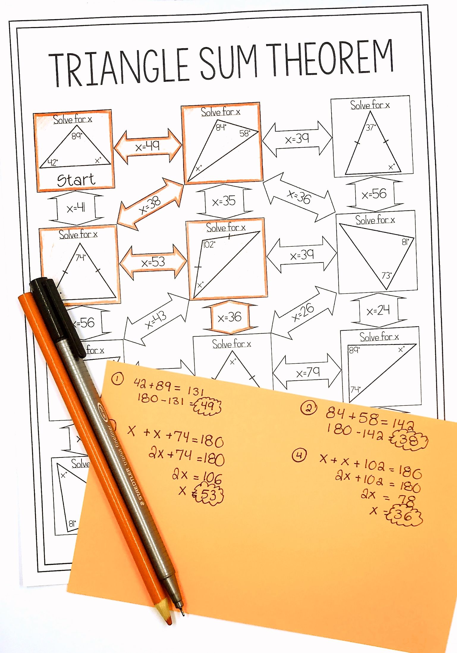 Triangle sum theorem maze geometry 8th grade math - The exterior angle theorem answers ...