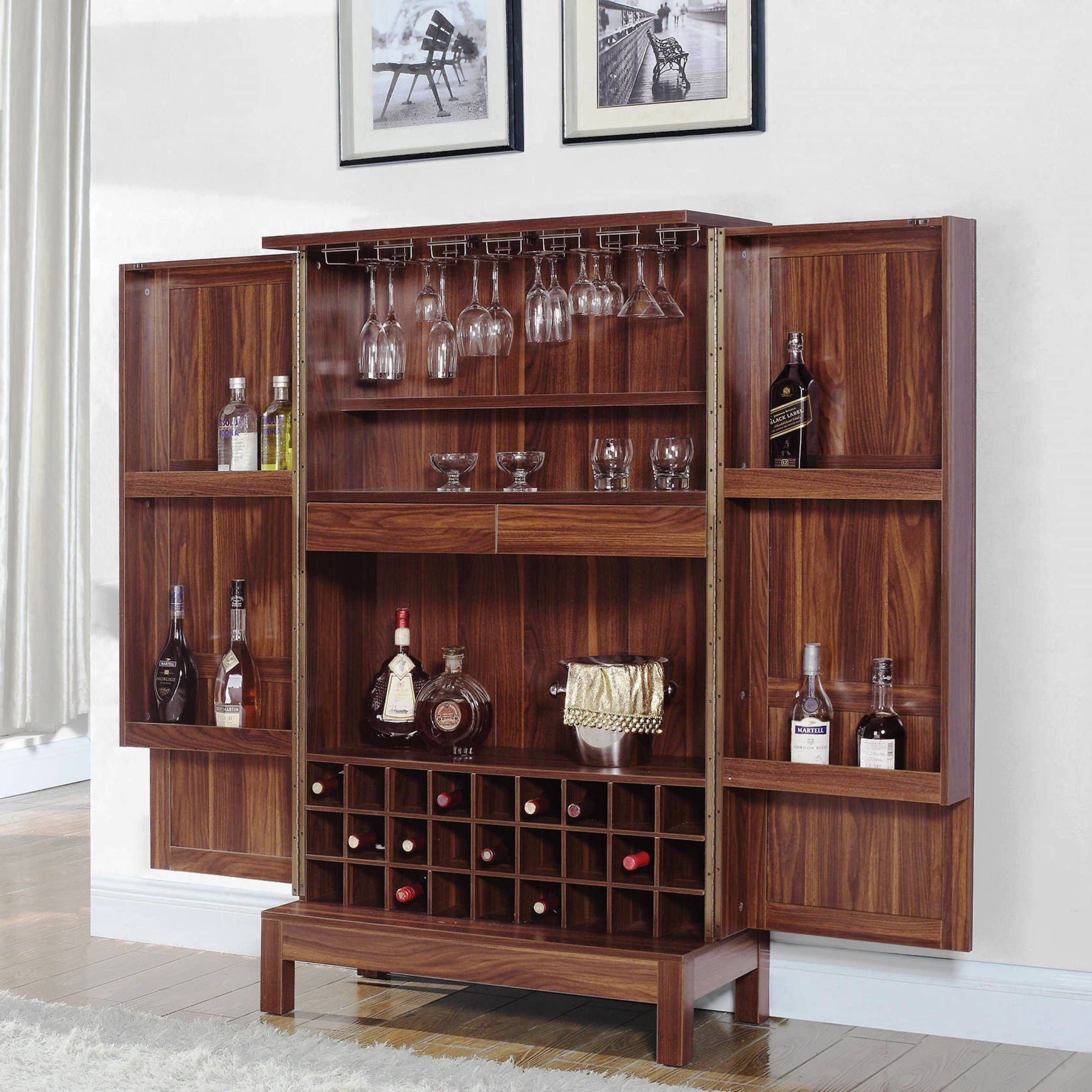 Wine Storage Bar Armoire Cabinet (Dark Walnut), Brown ...