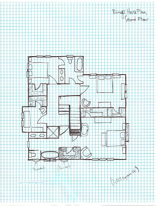 Ringel House plan, graph paper- second floor Letu0027s Build A House - excel graph paper