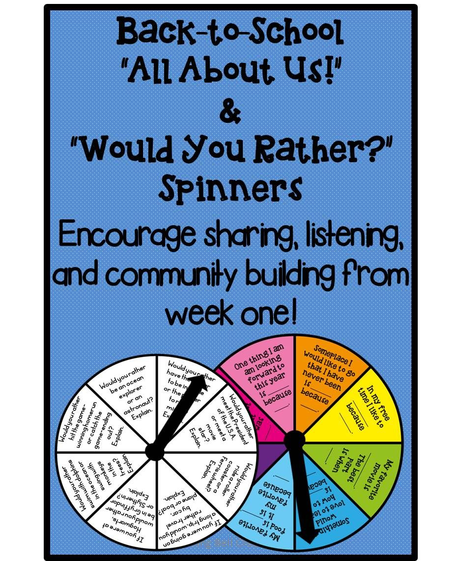 Back To School All About Us & Would You Rather Spinners