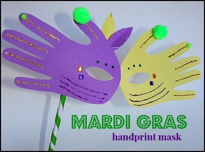 Mardi Gras Handprint Mask Craft For Kids Rusty And Rosy Mardi Gras Activities Mardi Gras Crafts For Kids