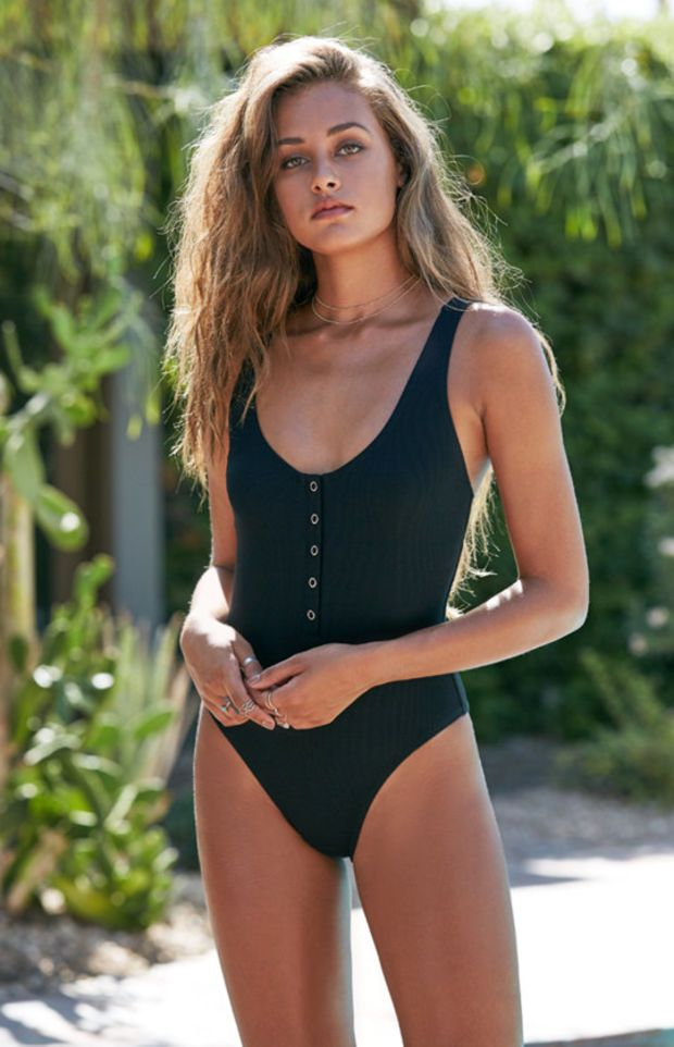 LA Hearts Ribbed Button-Front One Piece Swimsuit at PacSun.com ... fc5e72fa1