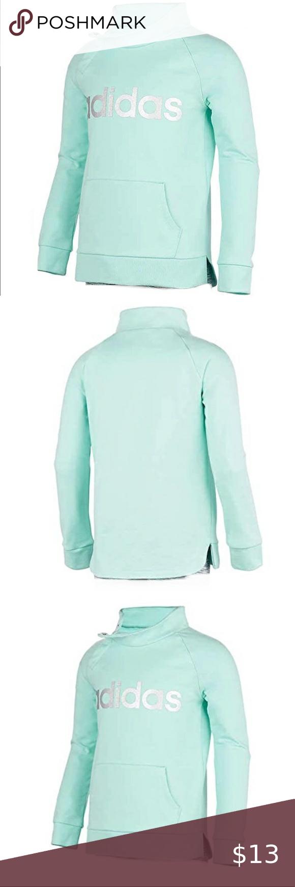 Adidas Girl S Turquoise Cowl Neck Sweatshirt Adidas Girl Cowl Neck Sweatshirt Sweatshirts [ 1740 x 580 Pixel ]