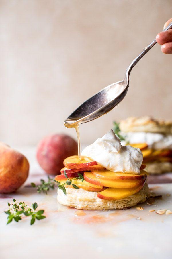 Sweet peach thyme shortcakes!