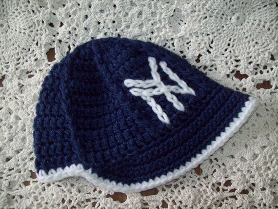 a786a224878 Navy Blue and White NY Yankees Baseball Hat w Brim and Diaper Cover ...