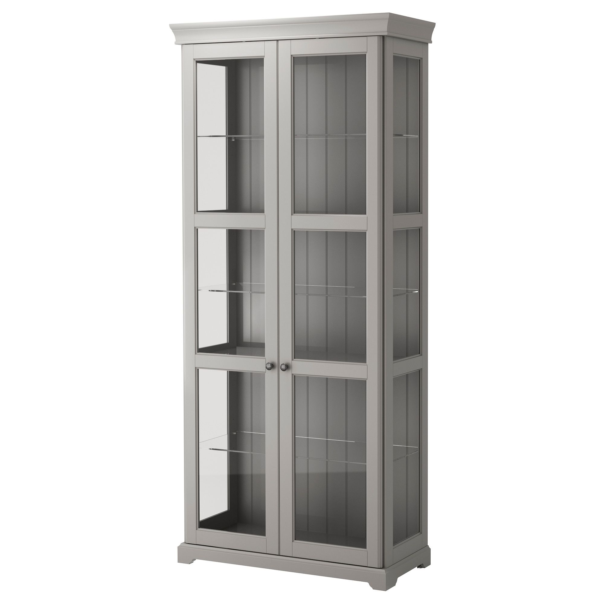 IKEA LIATORP Glass door cabinet gray