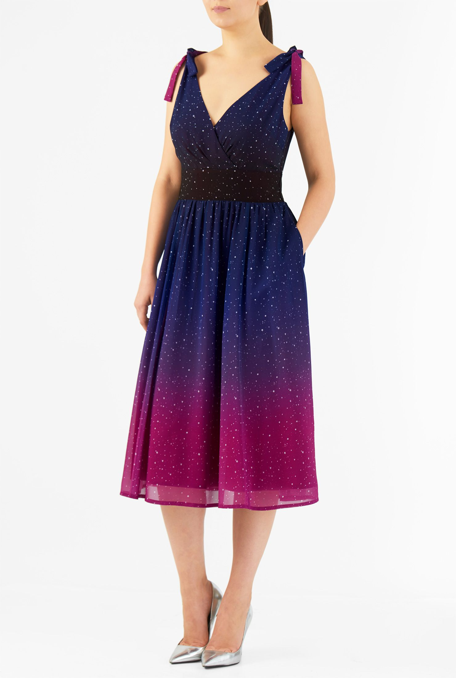 Ombre star print georgette shoulder ties dress