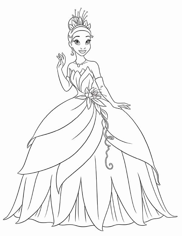 Princess Tiana Waving Hand In Princess And The Frog Coloring Pages Bulk Color Disney Princess Colors Disney Princess Coloring Pages Princess Coloring Pages