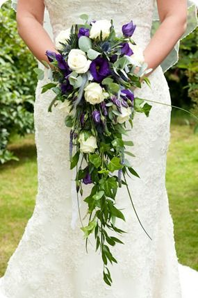 Scottish Thistles Yorkshire Roses A Real Wedding In York Katie Rob Brides Up North Purple Wedding Bouquets Purple Wedding Flowers Cascading Wedding Bouquets