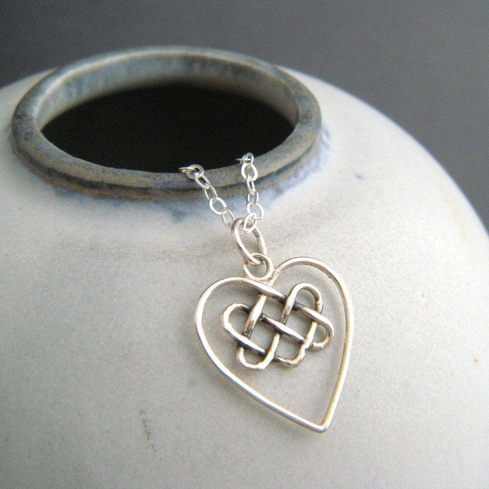 sterling silver celtic knot heart necklace yoga yogi pendant small ...