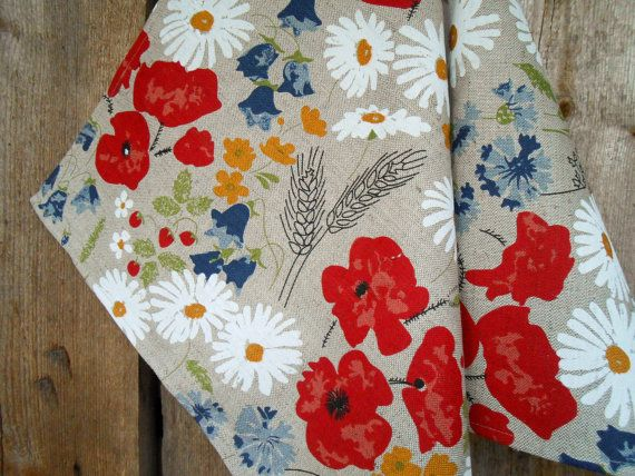 Meadow Red Poppy Kitchen Towel Dish Daisies Cornflowers Linen Hand Towel Gift For Mother Linen Fabric Linen Towel Flower Towel Tea Towel Mit Bildern