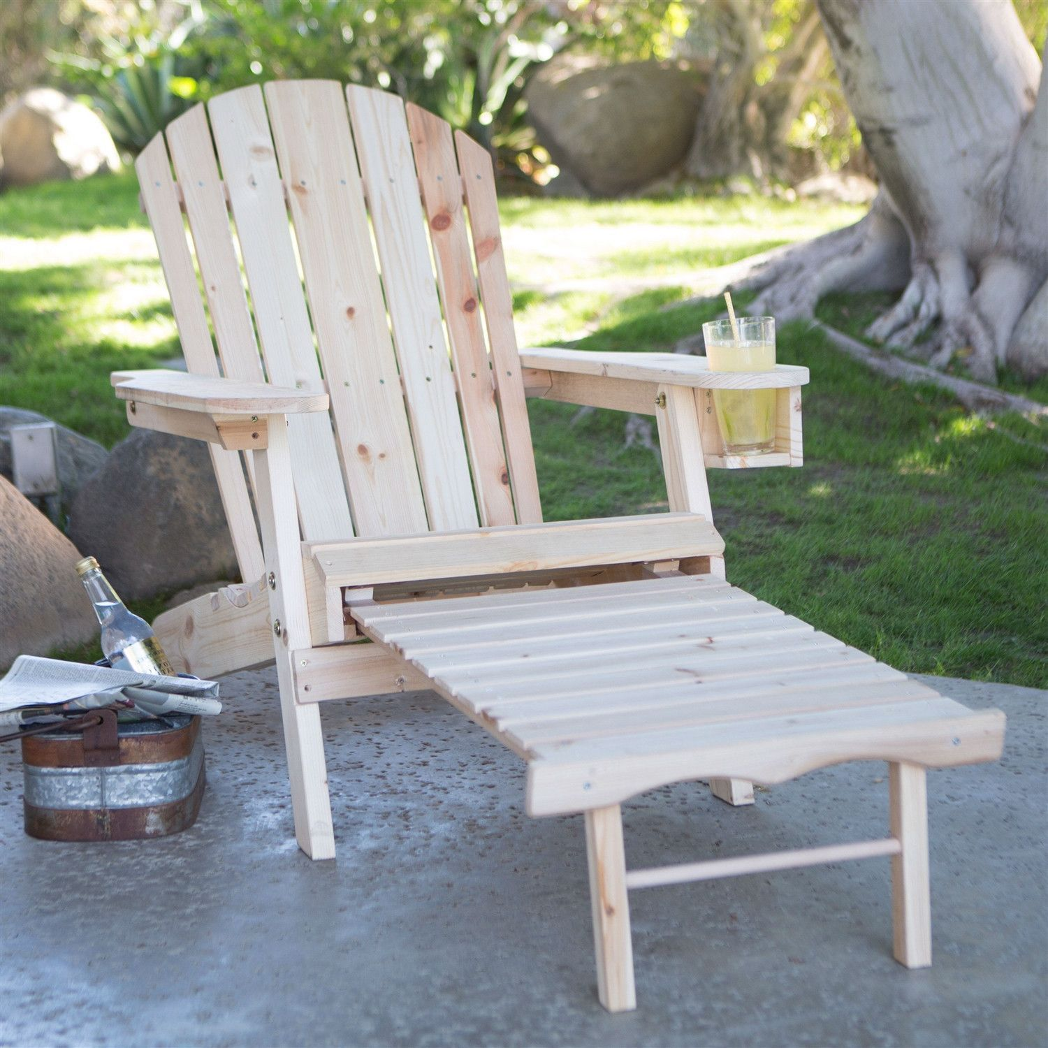 Natural Unfinished Fir Wood Adirondack Chair With Retractable Ottoman And  Drink Holder