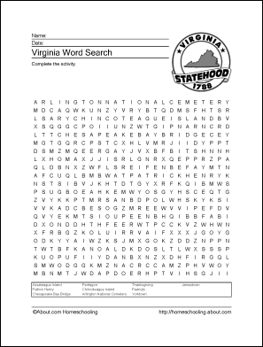 Learn About Virginia With Free Printables Vocabulary Worksheets Virginia Printables