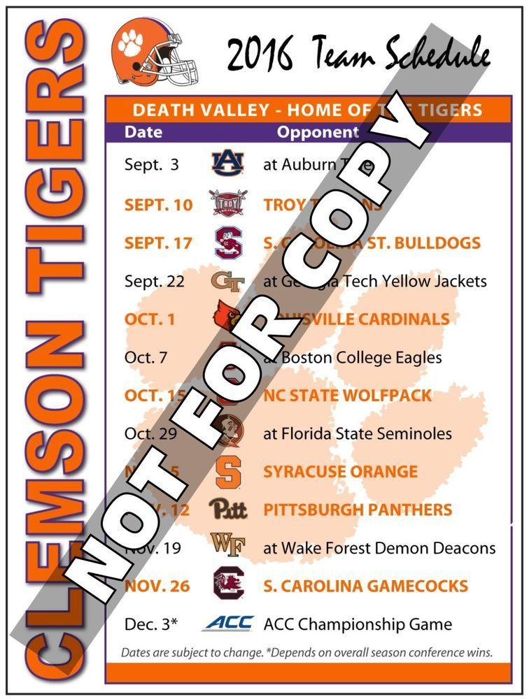 2016 Clemson Tigers Football Schedule (High