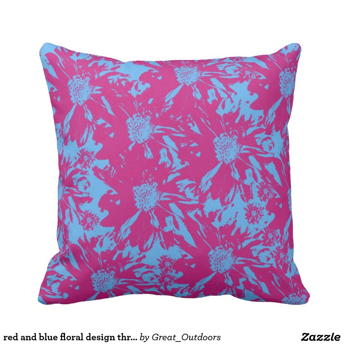red and blue floral design throw and lumbar pillow
