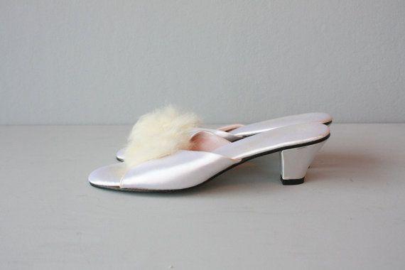 426e9a86fa94d Bedroom slippers / boudoir slippers / white satin heels / fur pom ...