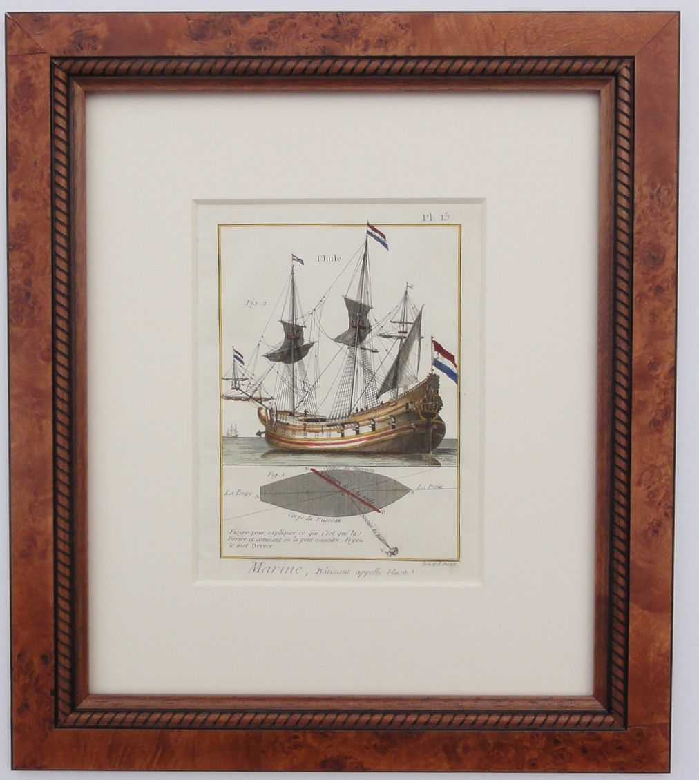 """Sailing Vessel Fluite, Hand-colored copper engraving of ships from Encyclopédie, ou dictionnaire raisonné des sciences, des arts et des métiers by Diderot, Paris 1779. Displayed in a wood frame and UV protectant glass.  Dimensions: 16"""" L x 19.5"""" W x 1.5"""" H"""