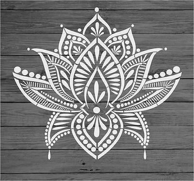 Stencil Mylar re-usable shabby chic LOTUS Flower MANDALA 310 x 280 mm #lotusflower
