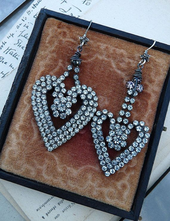Vintage Art Deco Rhinestone Earrings, The Queen of Hearts, by RusticGypsyCreations