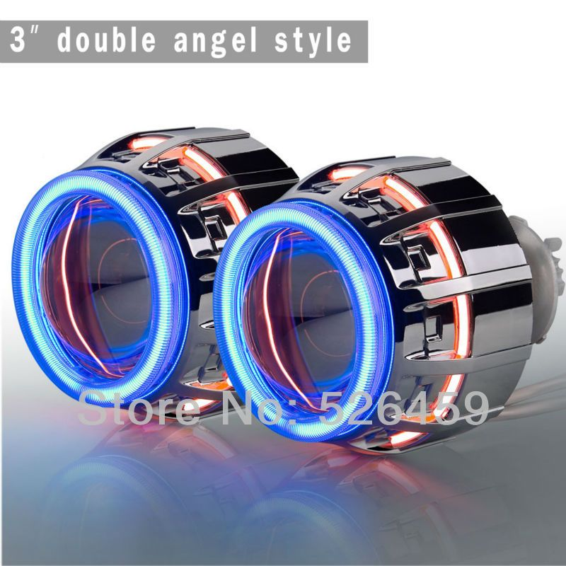 Russia Specifically Small Ket Socket Bi Xenon Projector Lens H1 H7 H4 9005 9006 9007 3inch 35w Double Angel Hid Projector Kit Projector Lens Hidden Projector Custom Car Interior