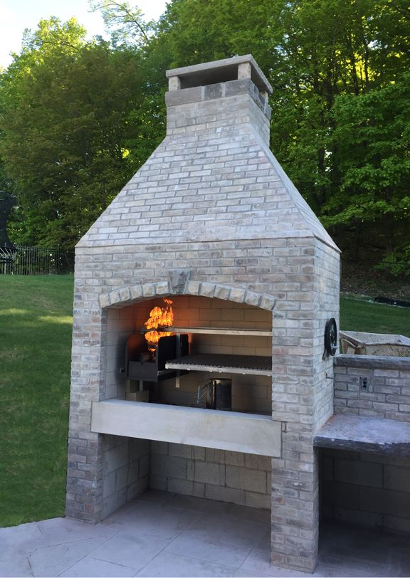 Gaucho Grills Insert In Custom Fireplace Outdoor Kitchen