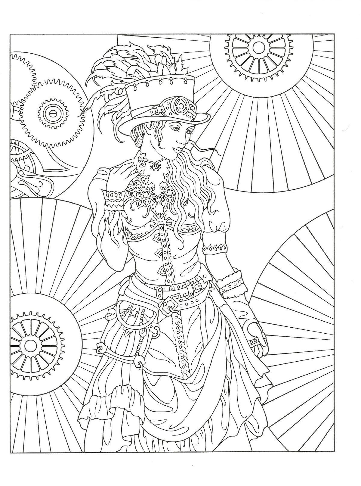 Creative Haven Steampunk Fashions Coloring Book By Marty Noble Dover Publications