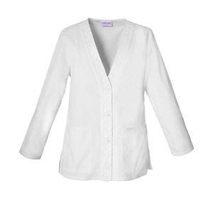 V-Neck Cardigan in White V-Neck Cardigan  Fabric: Brushed Cotton/Poly Poplin $25.99 #scrubs #nurses #doctors #medicaloutlet