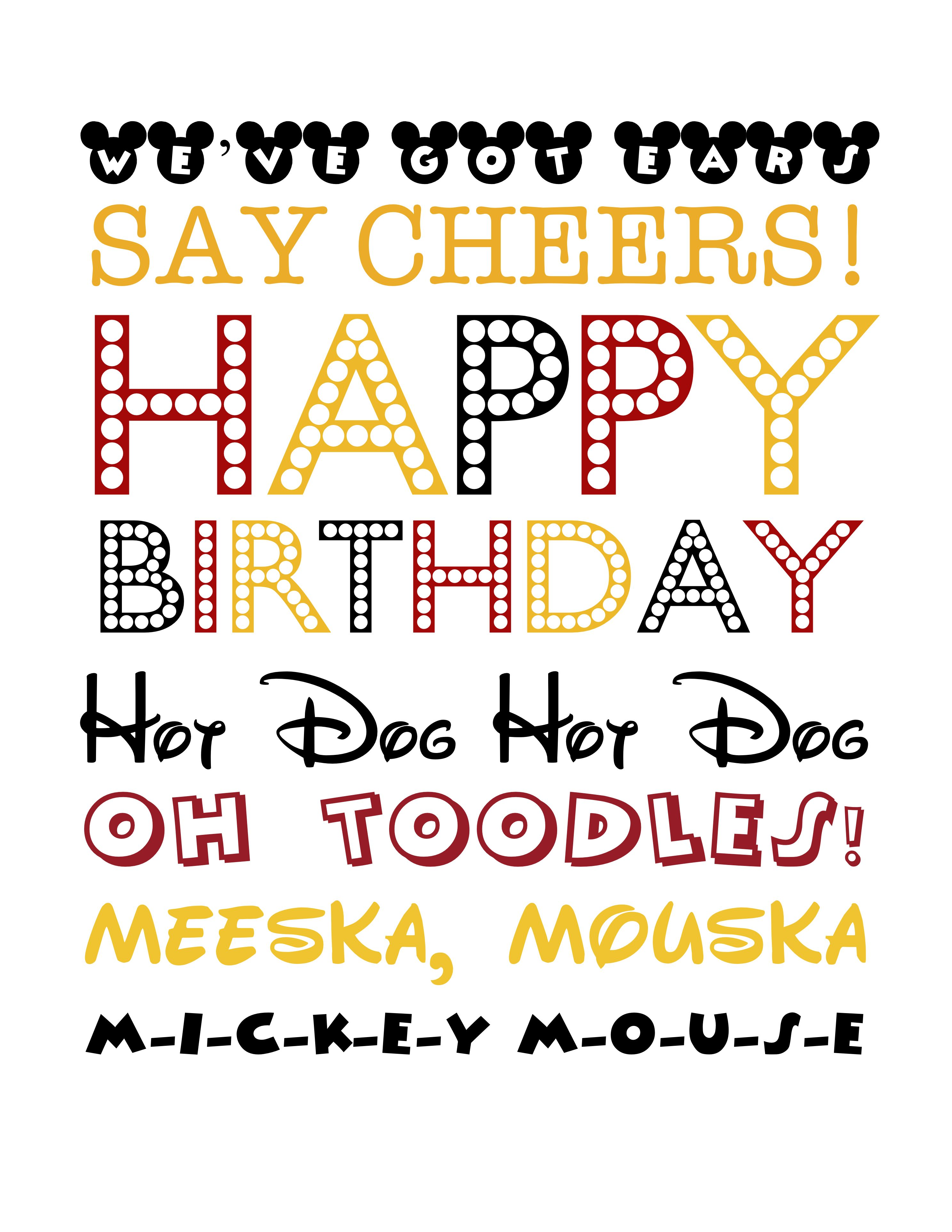 Free Mickey Mouse Themed Birthday Printable Mickey Subway Art
