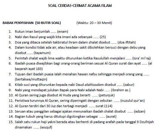 Soal Soal Cerdas Cermat Islami Sd