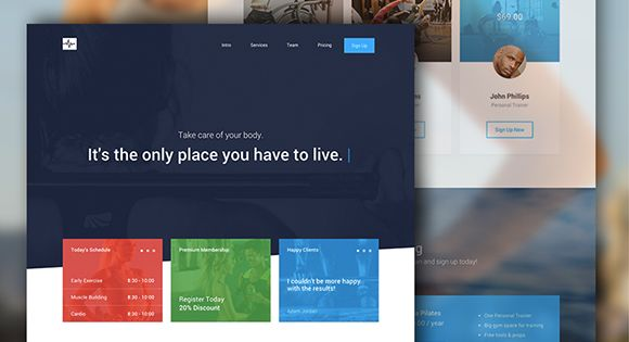 A clean and modern one page website template built with Bootstrap. The responsive HTML template has a gym related theme but can be easily fitted to any kind of content.
