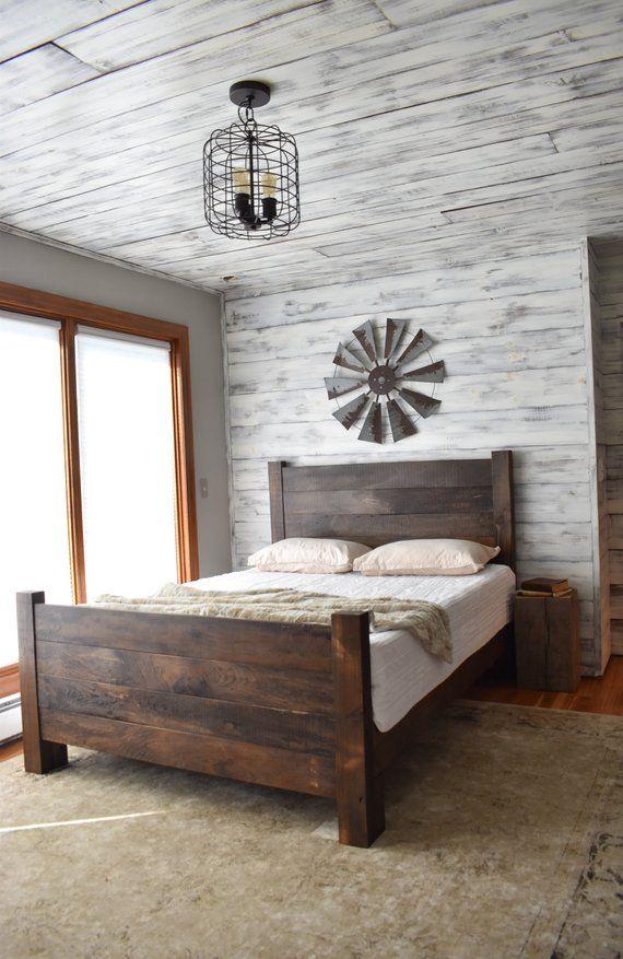 Farmhouse Headboard and Footboard, Queen Headboard, King Headboard, Bedroom Set, Platform Bed, Shiplap Headboard, Beds and Headboards,