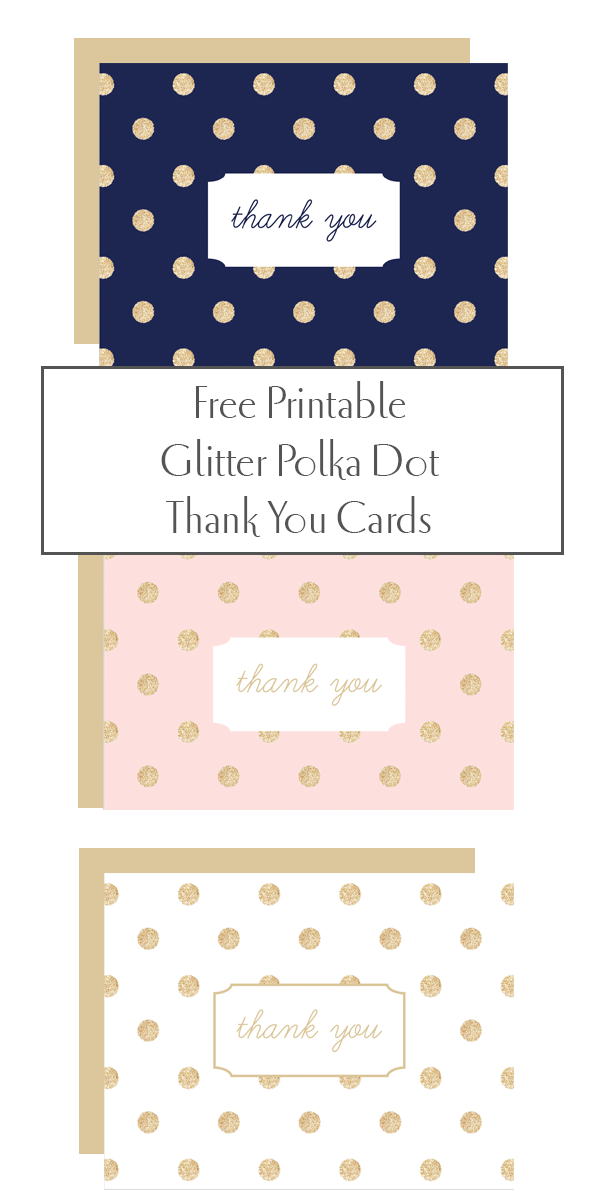 Free Printable Glitter Polka Dot Thank You Cards From Chicfettiwed
