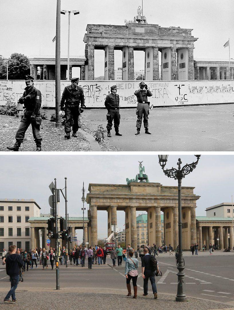Am Wahrzeichen Der Stadt Westdeutsche Grenzpolizisten Am 17 06 1987 Vor Der Mauer Am Brandenburger Tor In Berlin Heute Ein T Berlin Photos Berlin Berlin Wall