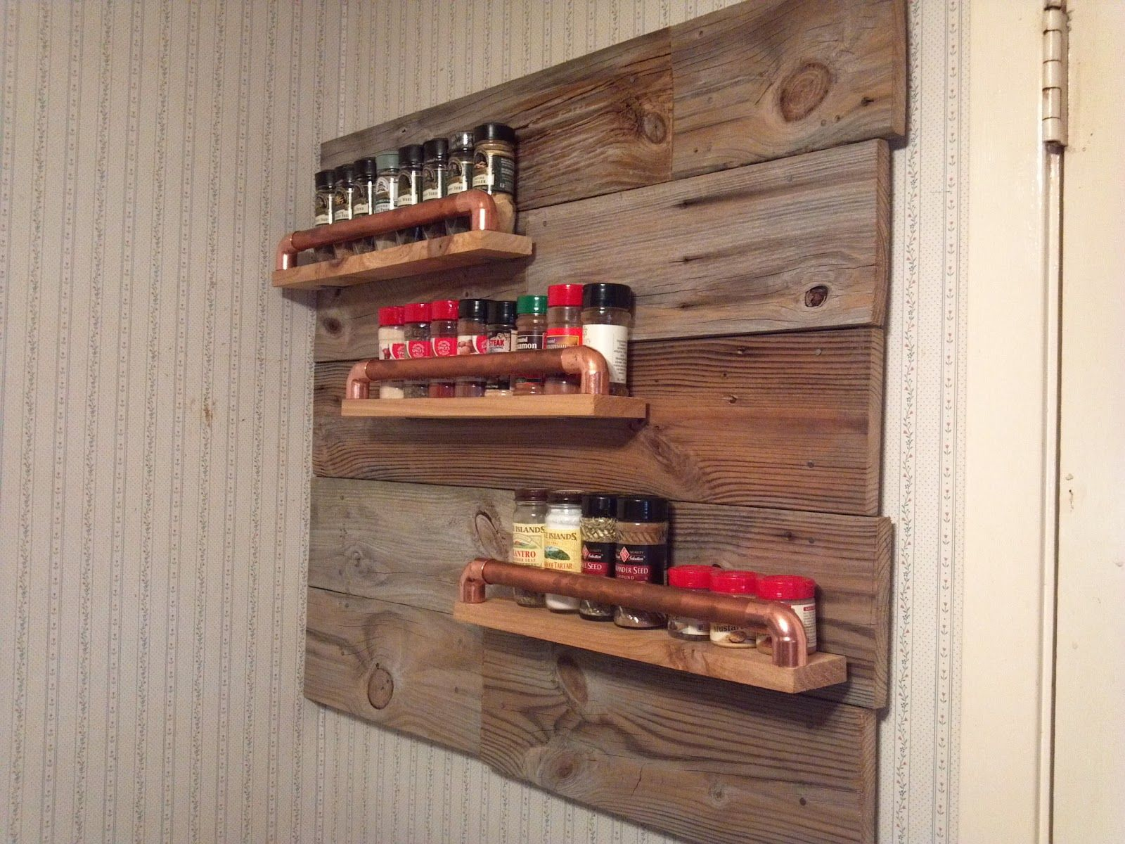 Rustic Spice Rack With Old Wood And Copper Pipe For The Home Piping Layout