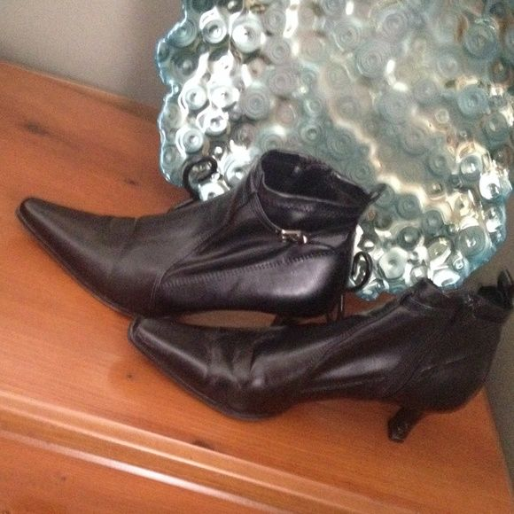 Booties Black 2in heeled pointed toe booties predictions Shoes Ankle Boots & Booties