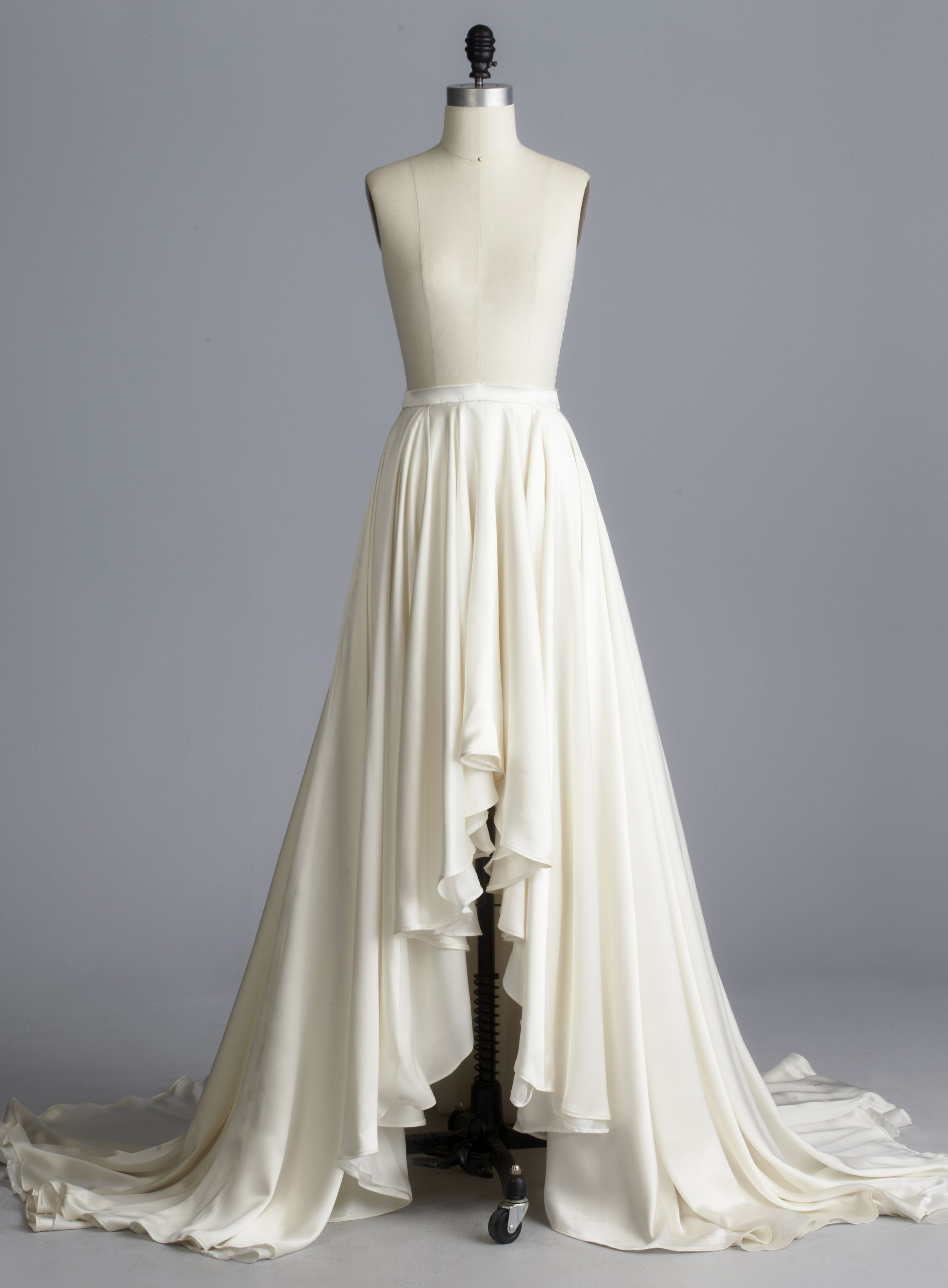 Della Giovanna Aaron Skirt- Off-White High Low Silk Double Face Satin with Train. Bridal Separates. Wedding Gown