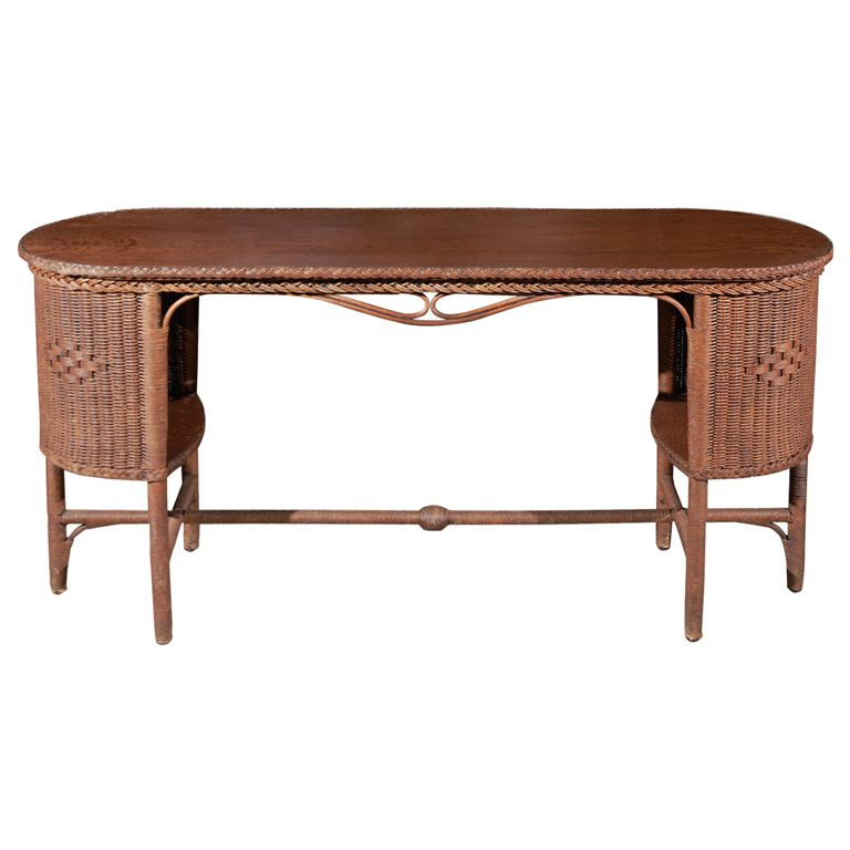 1stdibs Wicker Wood Library Table Sofa Tables Library Table Vintage Sofa