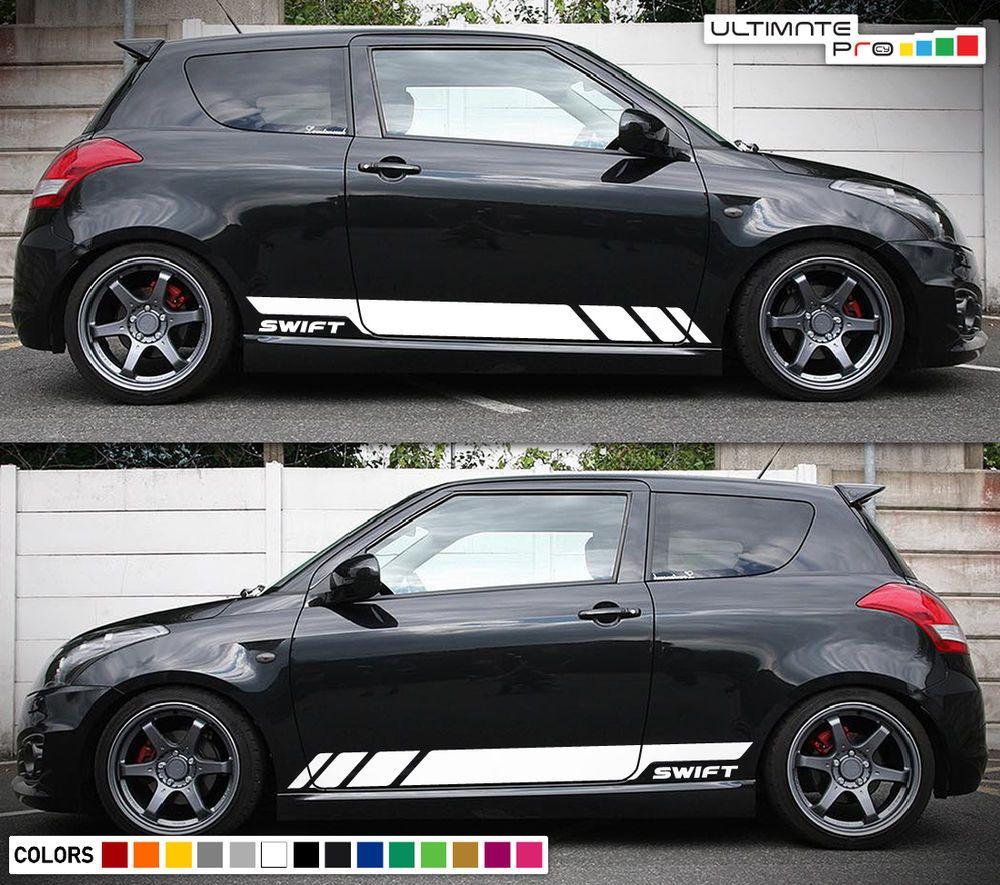 Sticker decal vinyl side door stripes for suzuki swift s racing 2010 2017 bumper