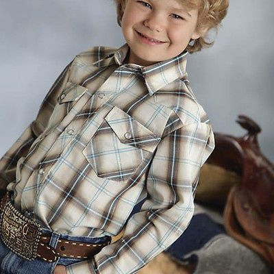 Roper Boys Cream with Brown and Turquoise Plaid Shirt