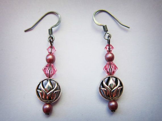Pink Pearls and Lotus Flower Earrings by TheTripleJewel on Etsy, $12.99