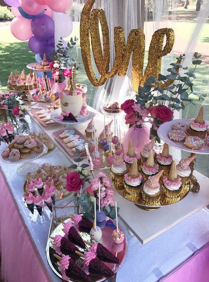 Magical Unicorn First Birthday Party Birthday Party Desserts Dessert Table Birthday First Birthday Parties
