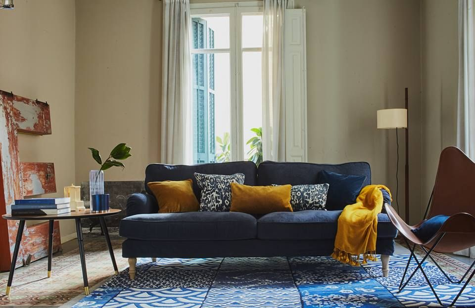 Blue Stocksund Cover And Cushions By Sofatherapy Blue Living Room Eclectic Living Room Living Room Sofa