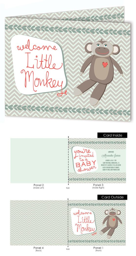 Monkey Tribe Mini Fold Baby Shower Invitations | Shower invitations ...