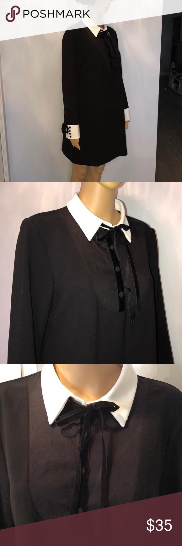 Zara New Black Dress With A White Collar And Cuffs Brand New Stretch Knit Cotton Dress Bust 42 Length 34 5 Zara Dresses Mini New Black Black Dress Zara New [ 1740 x 580 Pixel ]
