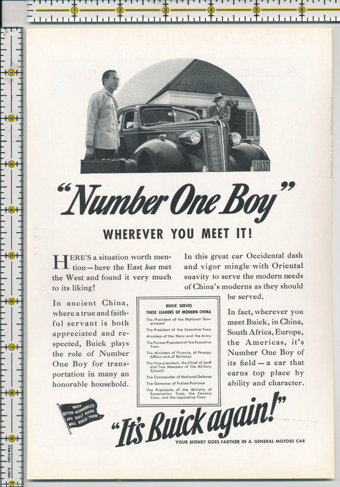 Buick auto car 1937 magazine print ad