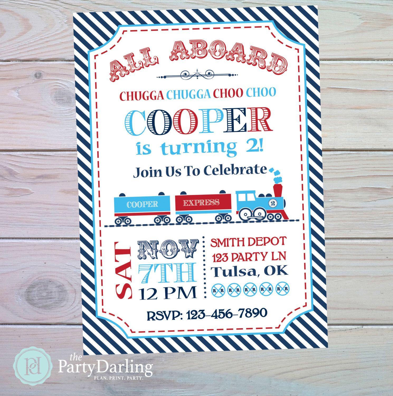 Train Birthday Invitation | Train Party Invitation | Train Party ...