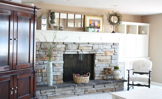 Spring decorated mantle