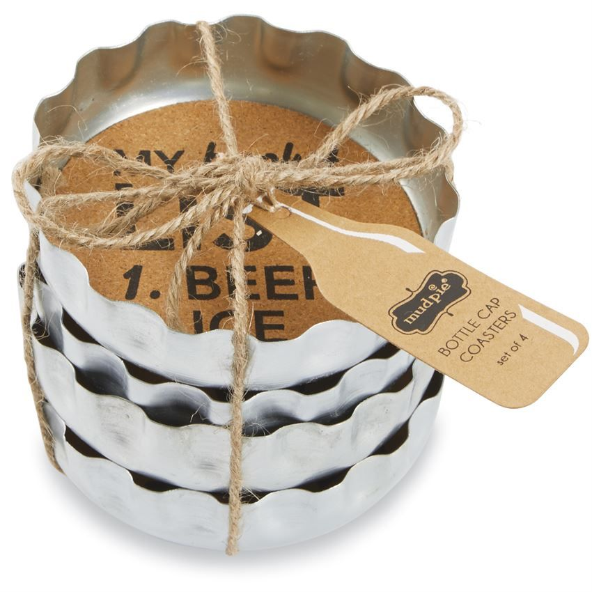 """4-piece set. Galvanized beer bottle cap coasters feature printed """"IS IT beer THIRTY YET?,"""" """"Drink LOCAL,"""" """"MY bucket LIST 1. BEER 2. ICE"""" and """"In DOG BEERS I've only had ONE"""" sentiments on cork centers. Coasters come stacked and tied for gifting."""
