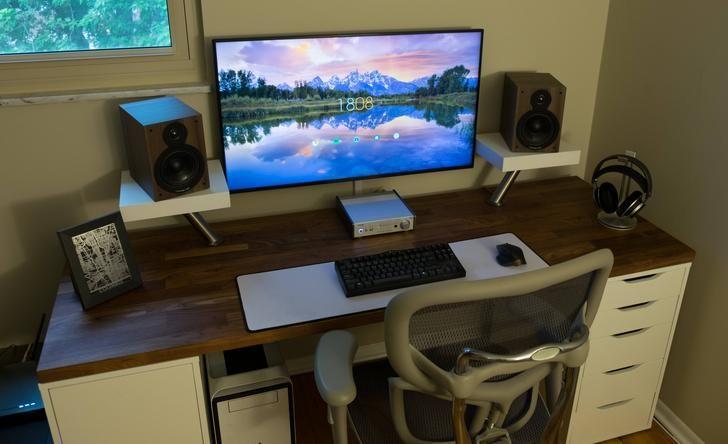 my 40inch 4k productivity and music station desk setups man cave. Black Bedroom Furniture Sets. Home Design Ideas